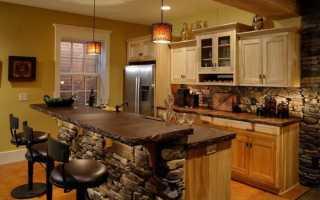 Отделка кухни декоративным камнем: виды материала